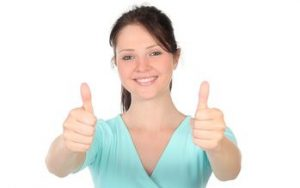 girl two thumbs up